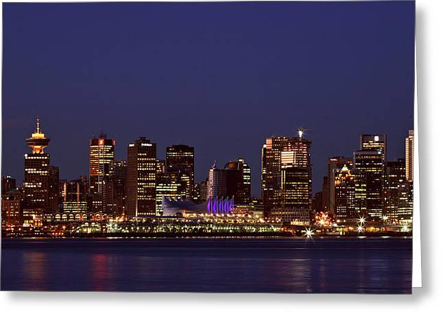 North Vancouver Digital Greeting Cards - Night lights of downtown Vancouver Greeting Card by Mark Duffy