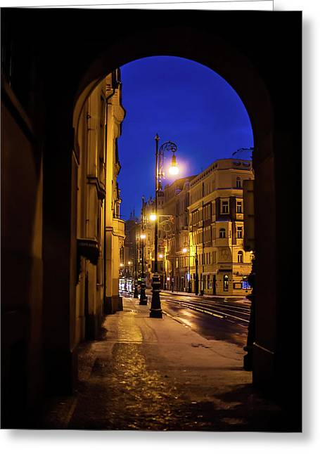 Night Lights Of Prague Streets Greeting Card by Jenny Rainbow