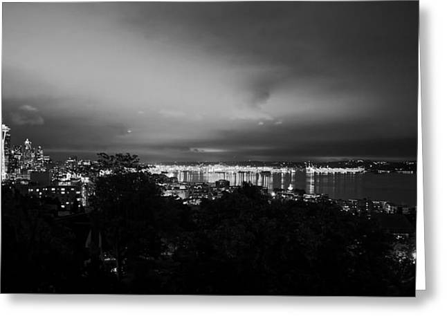 Ocean Vistas Greeting Cards - Night Lights Of Seattle Greeting Card by Unsplash