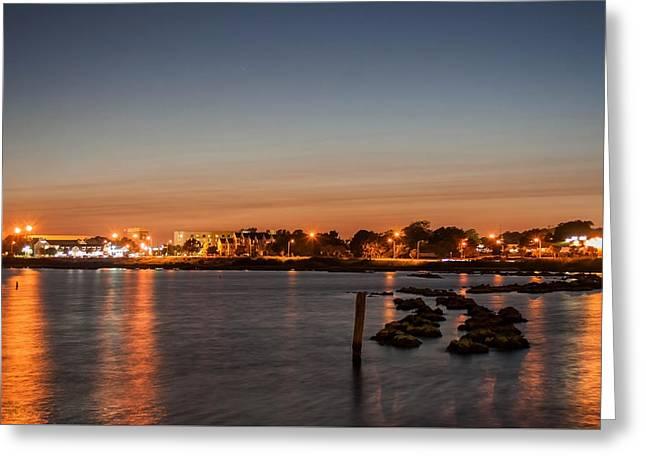 Long Street Greeting Cards - Night Lights Over the Bay Greeting Card by Mechala  Matthews