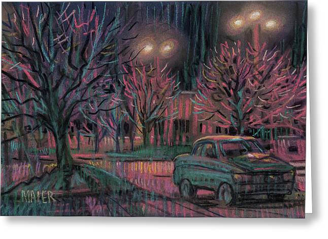 Streets Pastels Greeting Cards - Night Lot Greeting Card by Donald Maier
