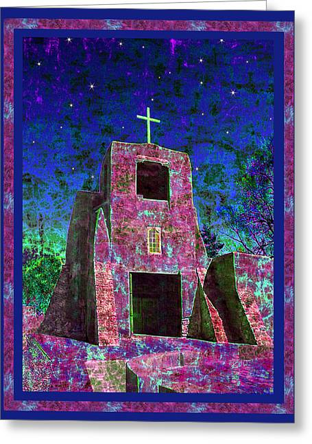 Santa Fe Greeting Cards - Night Magic San Miguel Mission Greeting Card by Kurt Van Wagner