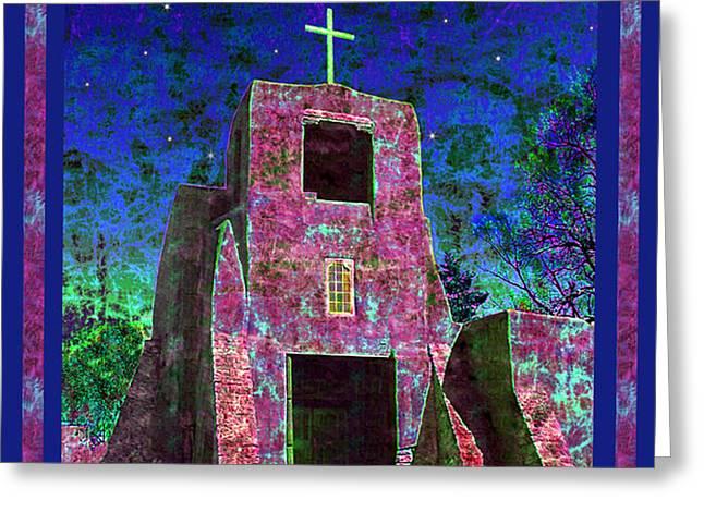 Night Magic San Miguel Mission Greeting Card by Kurt Van Wagner