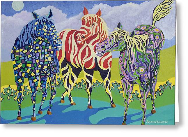 Fanciful Paintings Greeting Cards - Night Mares Greeting Card by Raymond Schuster