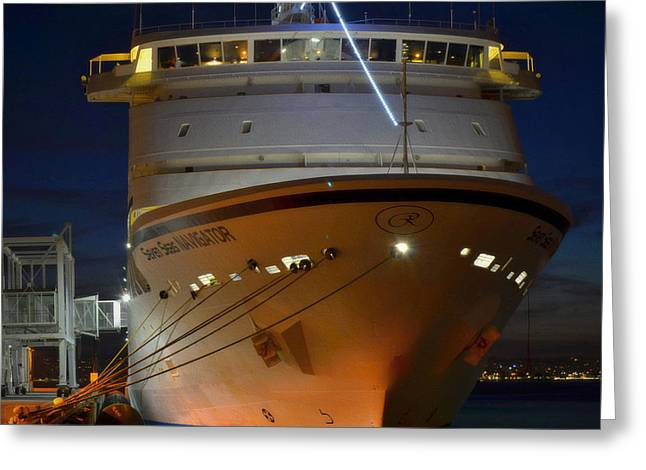 San Diego Harbor Cruise Greeting Cards - Night Navigator Greeting Card by See My  Photos