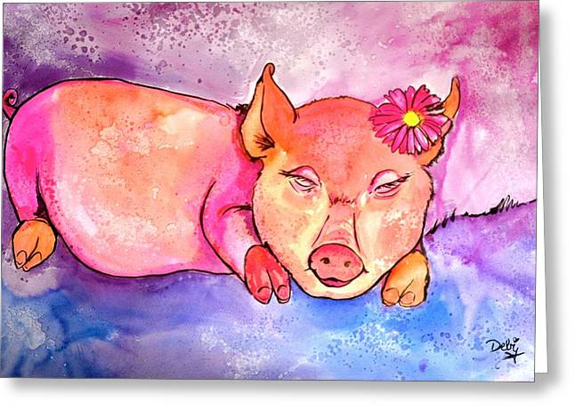 Watercolor Fairytale Greeting Cards - Night Night Little Piggy Greeting Card by Debi Starr