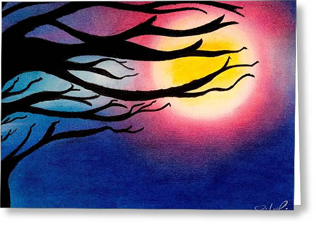 Halloween Pastels Greeting Cards - Night of Full Moon  Greeting Card by Jalal Gilani