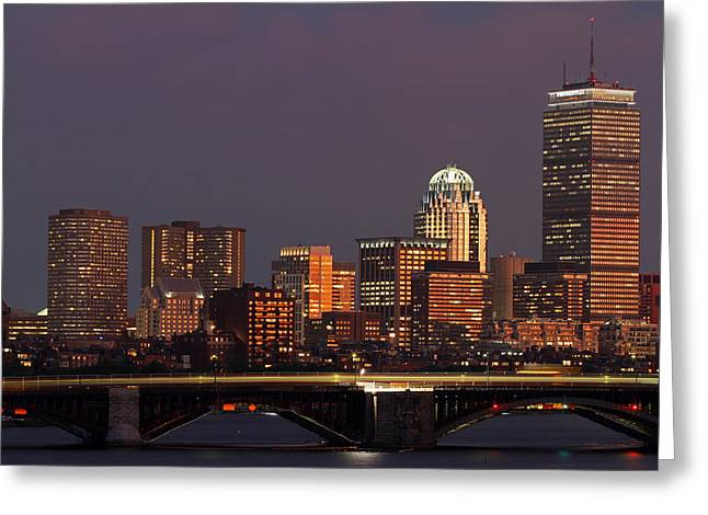 Boston Photos Greeting Cards - Night of Light Greeting Card by Juergen Roth