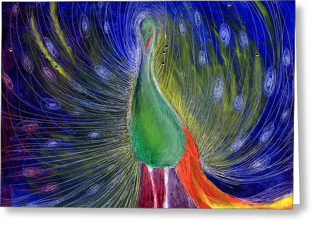 Peacock Greeting Cards - Night of Light Greeting Card by Nancy Moniz