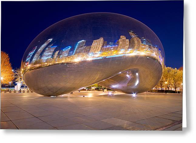 Stainless Steel Greeting Cards - Night on Cloudgate Greeting Card by Kevin Eatinger