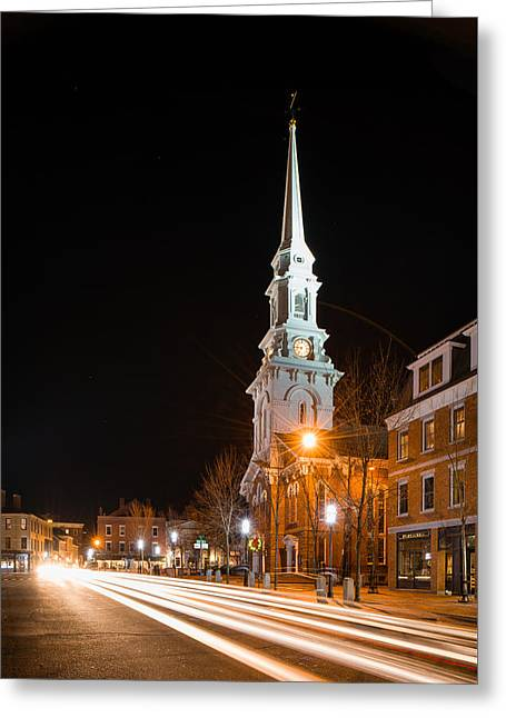 Night On Congress Street Greeting Card by Michael Blanchette