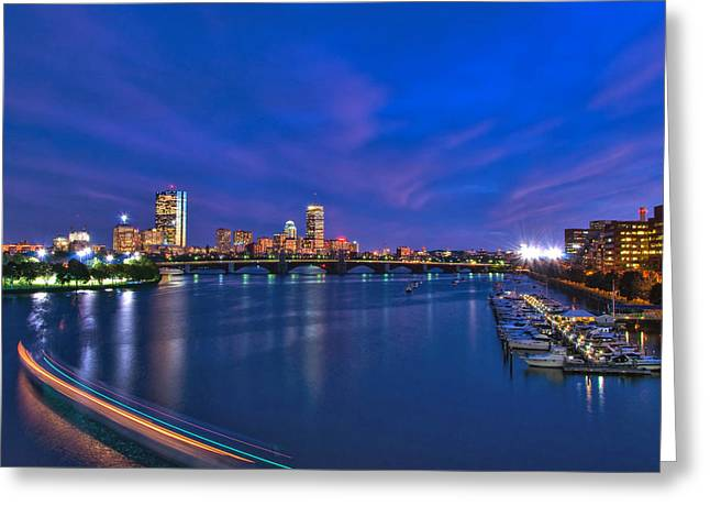 Fenway Park Greeting Cards - Night on the Charles 2 Greeting Card by Joann Vitali