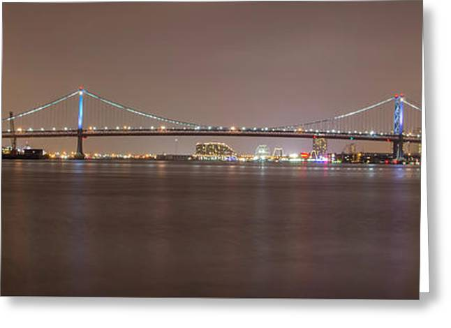 Night On The Delaware - The Benjamin Franklin Bridge Greeting Card by Bill Cannon