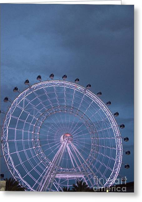 Amusements Greeting Cards - Night on the Orlando Eye Greeting Card by Linda Troski