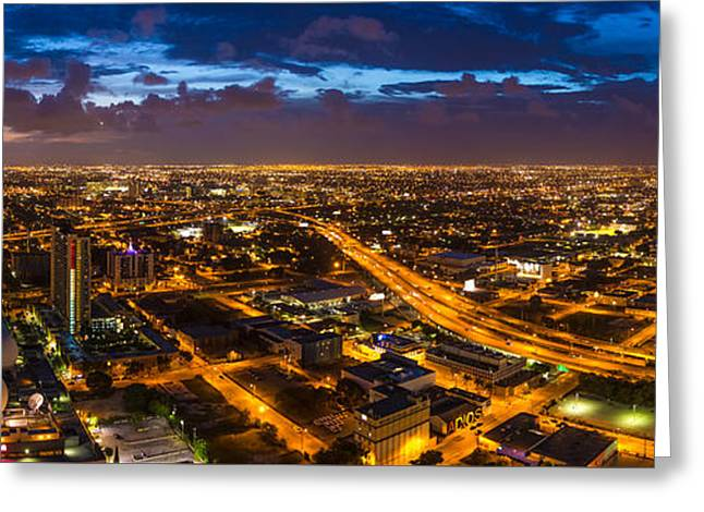 Streetlight Greeting Cards - Night over Miami Greeting Card by Brian Miller
