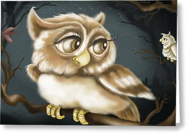 Fantasy Owl Greeting Cards - Night Owls Greeting Card by Hank Nunes