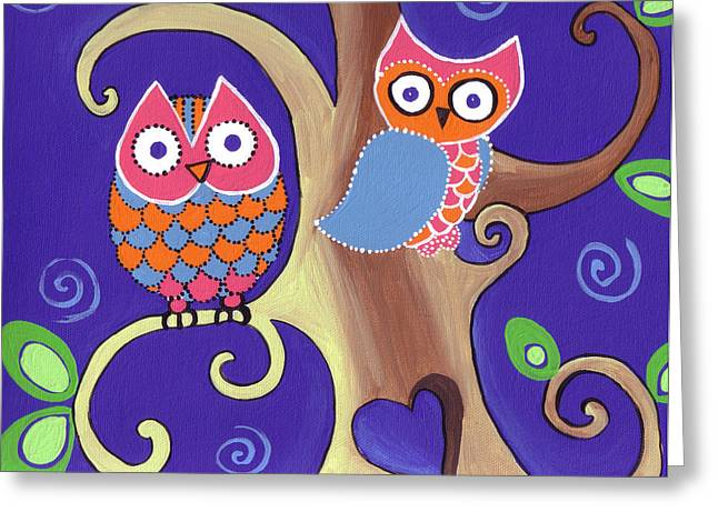 Whimsical Children Greeting Cards - Night Owls in Love Greeting Card by Lynnda Rakos
