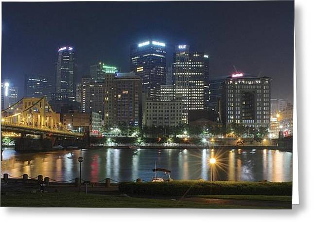 Night Panorama Of Pittsburgh Greeting Card by Frozen in Time Fine Art Photography