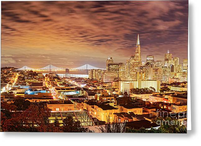 Night Panorama Of San Francisco And Oak Area Bridge From Ina Coolbrith Park - California Greeting Card by Silvio Ligutti