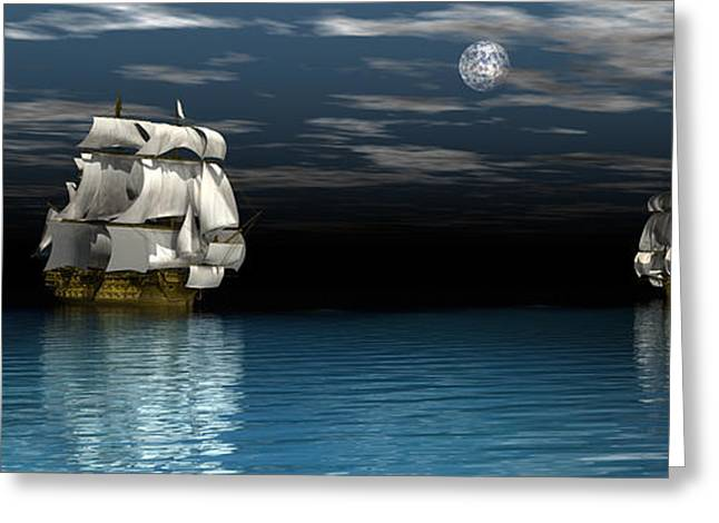 Tall Ships Greeting Cards - Night passage Greeting Card by Claude McCoy
