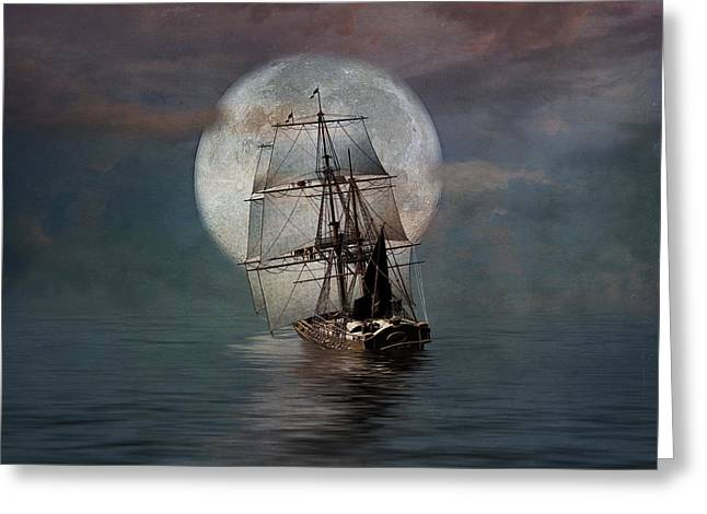 Pirate Ships Greeting Cards - Night Passage Greeting Card by Stephen Warren