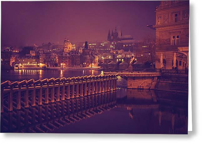 Night Prague Greeting Card by Jenny Rainbow