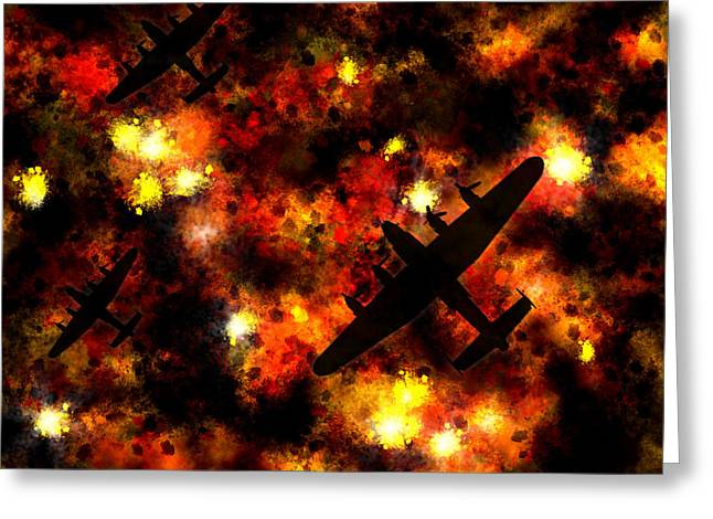 Propeller Greeting Cards - Night Raid - Lancaster Bomber Greeting Card by Michael Tompsett