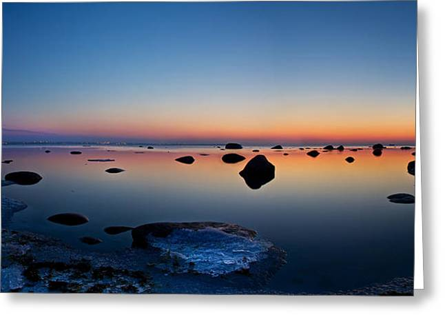 Exposure Greeting Cards - Night reflections seascape after sunset panorama Greeting Card by Sandra Rugina