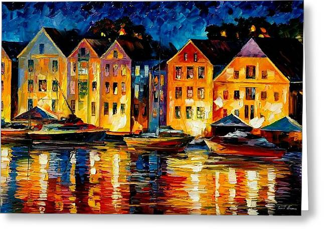 Original Art Greeting Cards - Night Resting Original Oil Painting  Greeting Card by Leonid Afremov