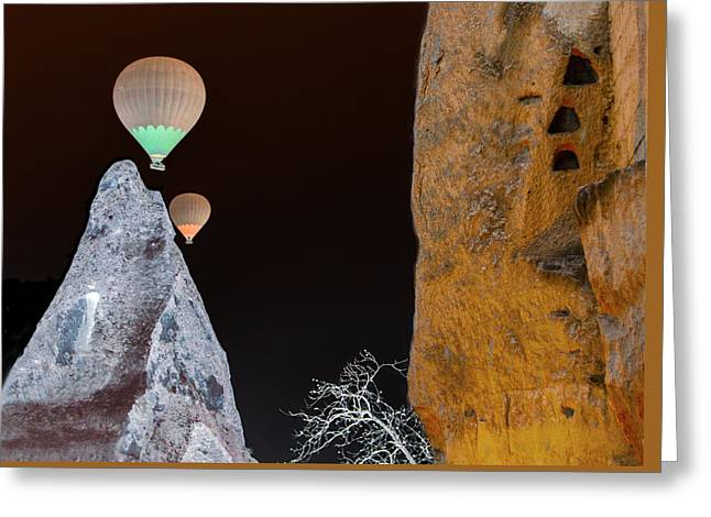 Surreal Landscape Greeting Cards - Night ride to the Magic Mountain Greeting Card by Edward Shmunes