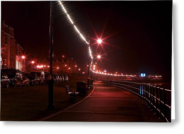 Night Lamp Greeting Cards - Night Road Greeting Card by Svetlana Sewell