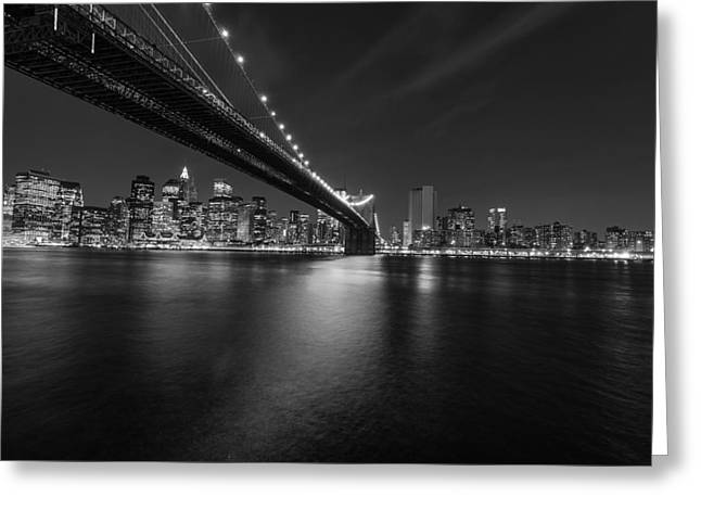 Inland Bodies Of Water Greeting Cards - Night Scape BW Greeting Card by Michael Damiani