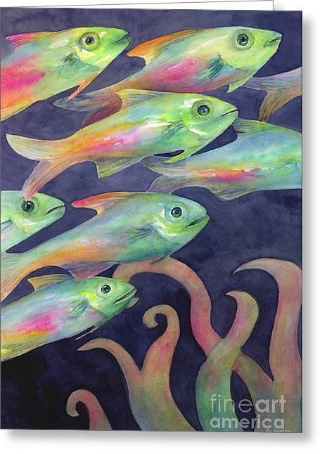 Colorful Fish Greeting Cards - Night School Greeting Card by Amy Kirkpatrick