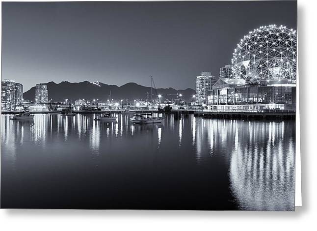 Science Greeting Cards - Night sets over Vancouver Greeting Card by Sabine Edrissi
