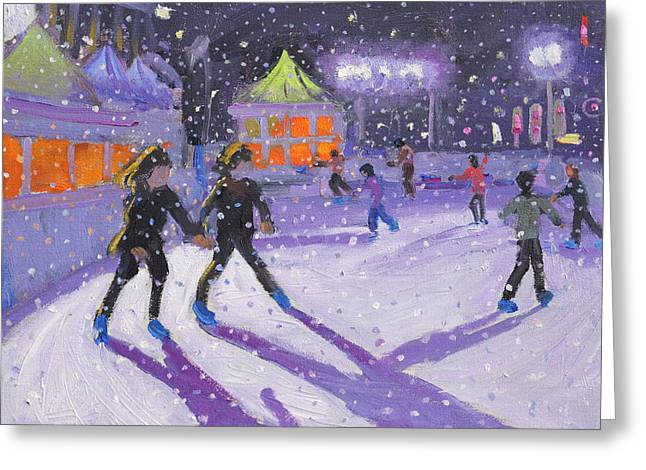 Night Skaters Greeting Card by Andrew Macara