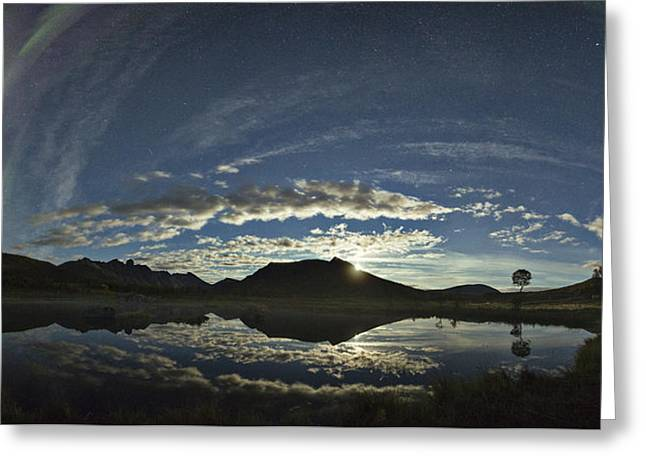 Night Sky Panorama Greeting Card by Frank Olsen