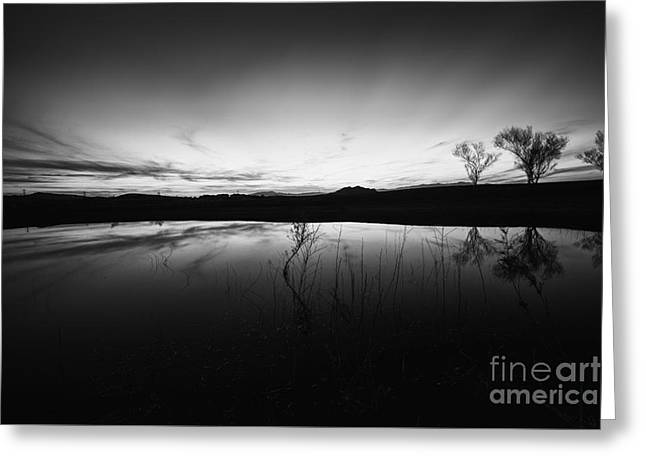 Scenic Greeting Cards - Night Sky Reflections Greeting Card by Jon Olmstead