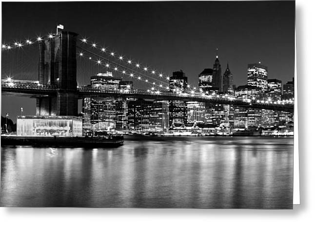 Ground Zero Greeting Cards - Night Skyline MANHATTAN Brooklyn Bridge bw Greeting Card by Melanie Viola