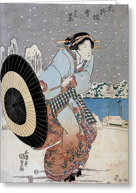 Night Snow Scene At Motonoyanagi Bridge Greeting Card by Utagawa Toyokuni