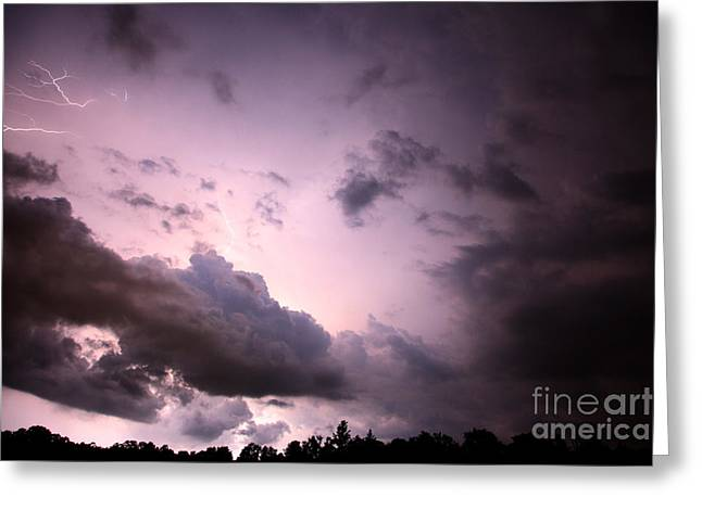 Lightning Strike Greeting Cards - Night storm Greeting Card by Amanda Barcon