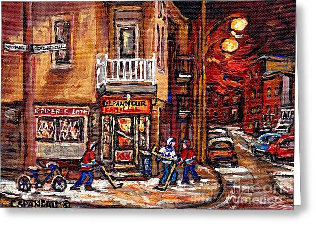 Hockey Paintings Greeting Cards - Night Street Hockey Game Painting Depanneur Familiale Ville Emard Cote St Paul Scenes Canadian Art  Greeting Card by Carole Spandau