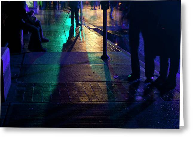 Streetlight Greeting Cards - Night Streets Greeting Card by Barbara  White
