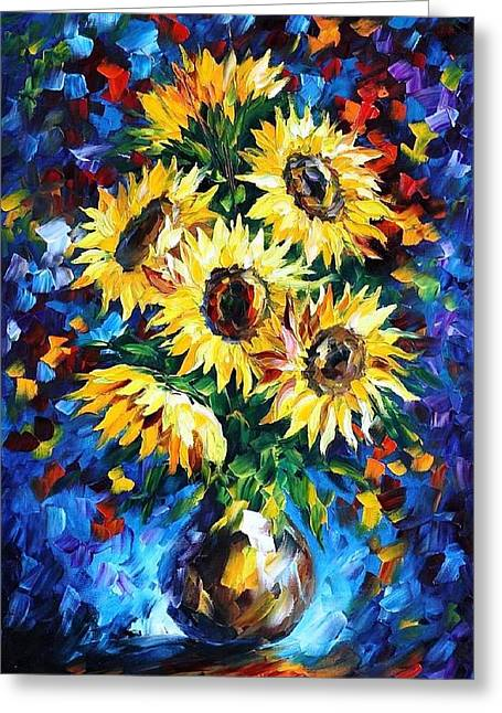 Christmas Art Greeting Cards - Night Sunflowers - PALETTE KNIFE Oil Painting On Canvas By Leonid Afremov Greeting Card by Leonid Afremov