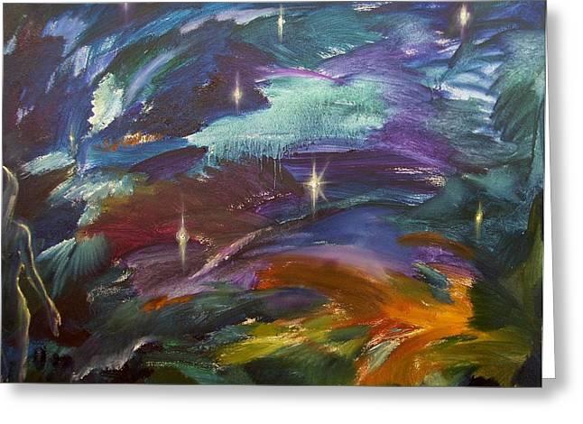 Best Sellers -  - Stellar Paintings Greeting Cards - Night Swimming Greeting Card by Kseniya Nelasova