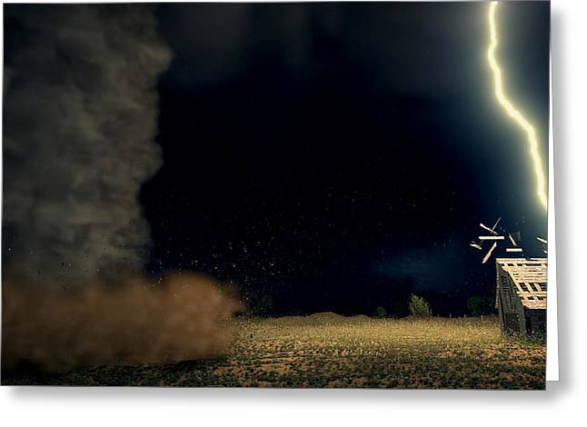 Funnel Clouds Greeting Cards - Night Terror Greeting Card by Dale Forbers