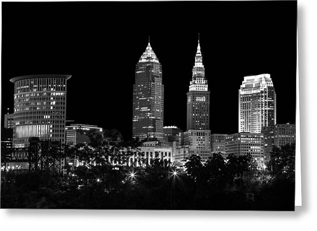 Evening Scenes Greeting Cards - Night Time in Cleveland Ohio Greeting Card by Dale Kincaid