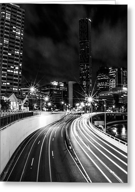 Long Street Greeting Cards - Night Time In The City  Greeting Card by Parker Cunningham