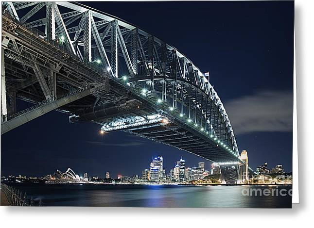 Nightshot Greeting Cards - Night Time Shot of the Sydney Harbour Bridge Greeting Card by Justin Paget