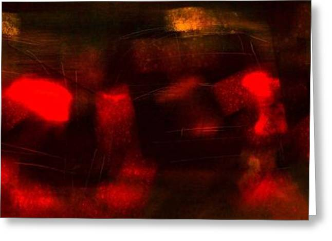 Abstract Rain Greeting Cards - Night Traffic Greeting Card by Jim Vance
