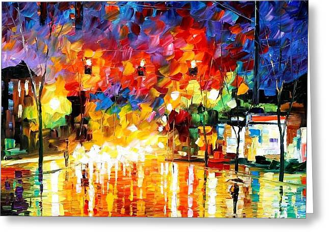 Recently Sold -  - Popular Art Greeting Cards - Night Traffic Lights - PALETTE KNIFE Oil Painting On Canvas By Leonid Afremov Greeting Card by Leonid Afremov